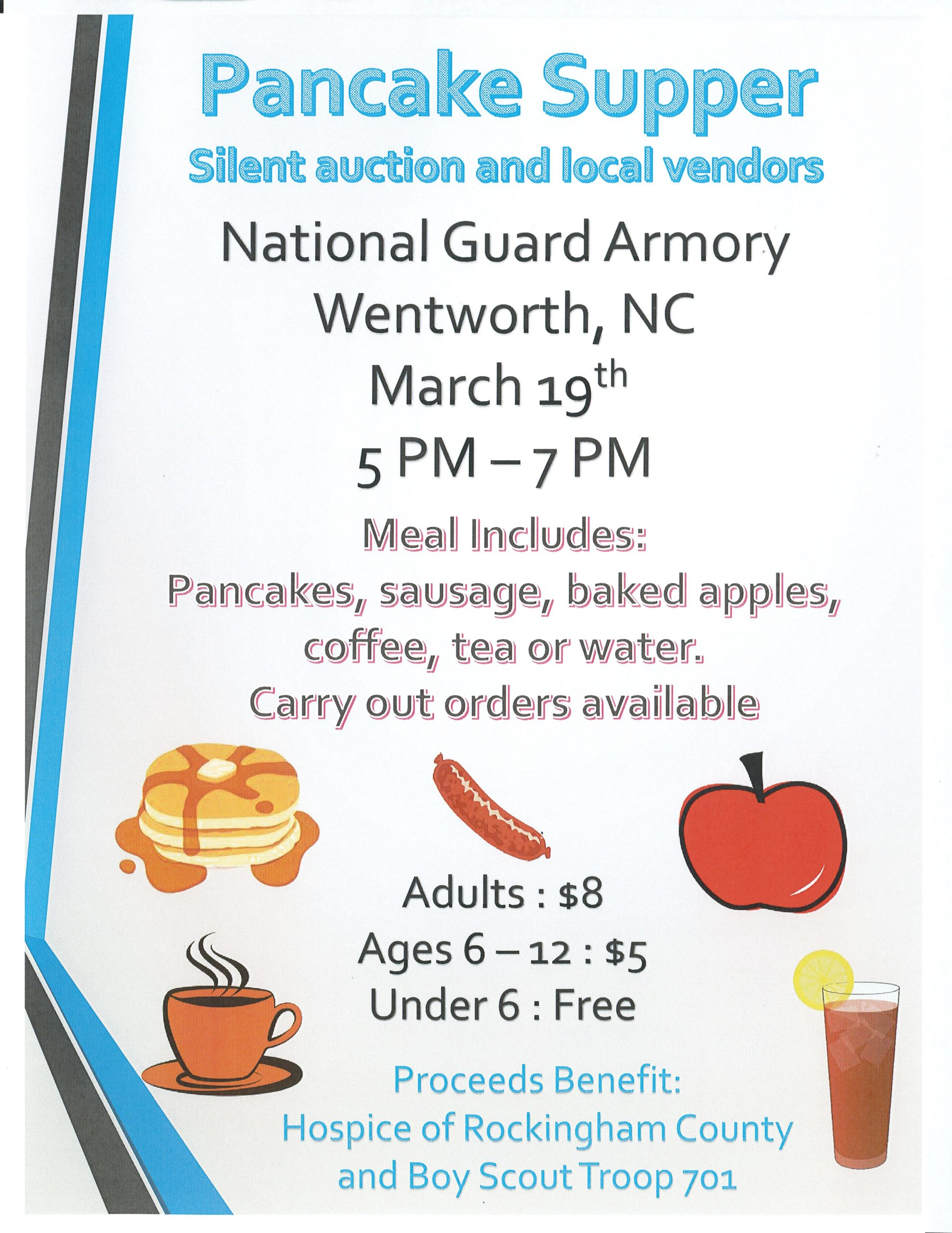 POSTPONED - Pancake Supper & Silent Auction @ National Guard Armory