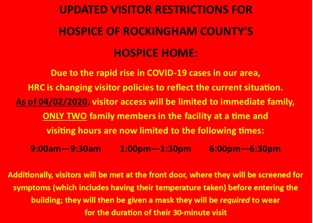 New Hospice Home Visitor Restrictions
